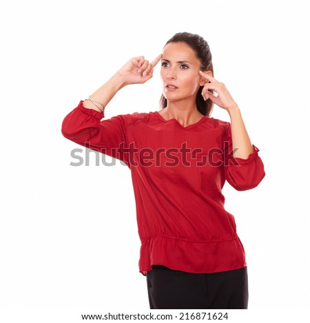 Portrait of reflective latin girl with wondering gesture looking up to her right while standing on isolated white background - copyspace - stock photo