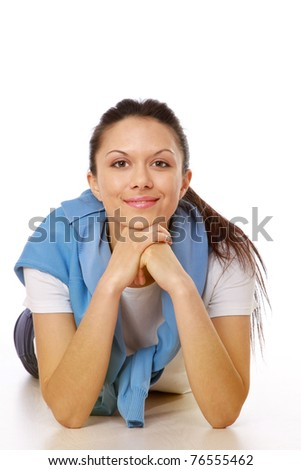 Portrait of relaxed young lady - stock photo