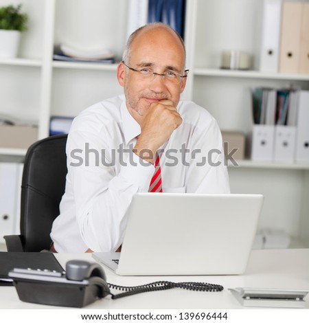 portrait of reliable businessman with hand on chin - stock photo