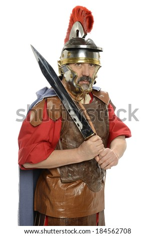 Portrait of Roman soldier holding a sword isolated on a white background - stock photo