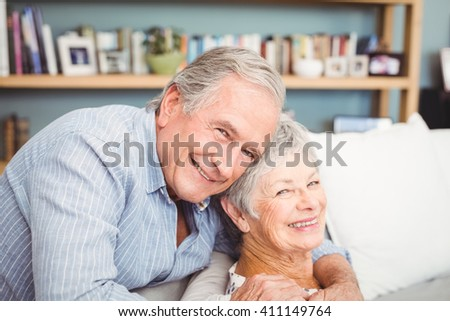 Portrait of romantic senior couple hugging at home - stock photo
