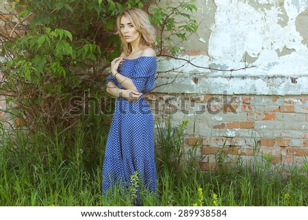 Portrait of romantic woman in fairy place. - stock photo