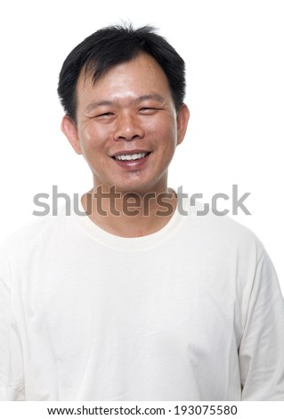 Portrait of 40s Asian middle aged male smiling, isolated on white background. - stock photo