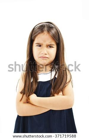 Portrait of sad crying little girl. Isolated on white background - stock photo