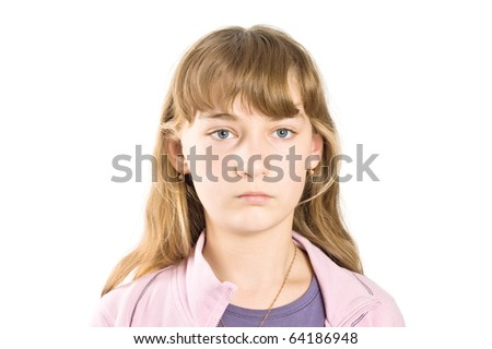 Portrait of  sad girl - stock photo