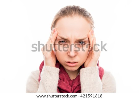 Portrait of sad sick woman with strong pain in head - stock photo