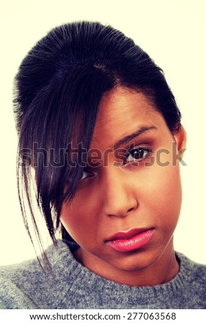 Portrait of sad worried woman.  - stock photo