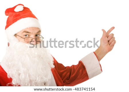 Portrait of santa claus showing on a white background