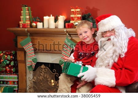 Portrait of Santa Claus with young boy