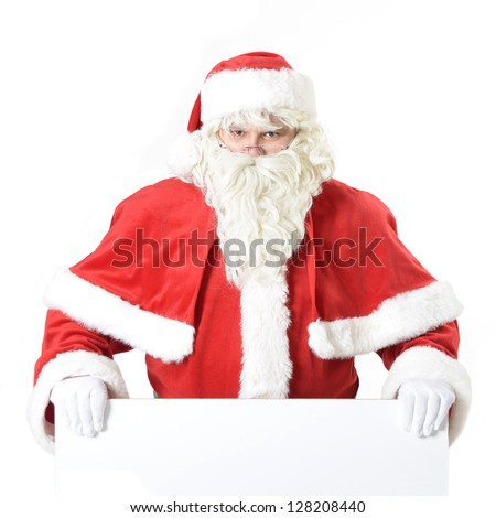 portrait of santa clause with advertising board - stock photo