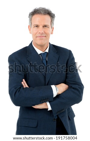 Portrait Of Satisfied Mature Businessman Looking At Camera Isolated On White Background - stock photo