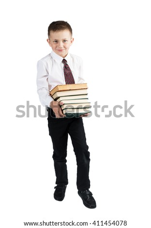 Portrait of school boy with books. Education. White background Isolated - stock photo