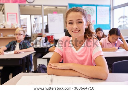 Portrait of schoolgirl at desk in an elementary school class - stock photo