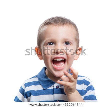 Portrait of screaming beautiful little boy isolated on white background - stock photo