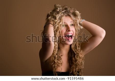 portrait of screaming girls - stock photo