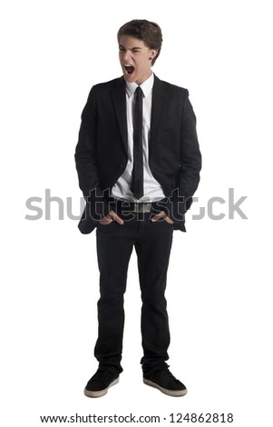 Portrait of screaming teenager guy against white background - stock photo