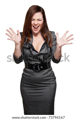 portrait of screaming woman in grey dress. isolated on white