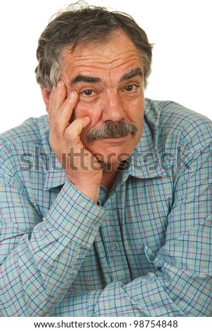 Portrait of senior business man with mustache holding hand to face isolated on white background - stock photo