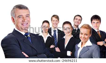 portrait of senior  businessman with successful group of business people, on white background