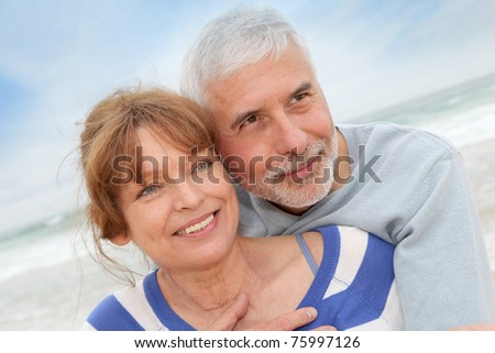 Portrait of senior couple at the beach
