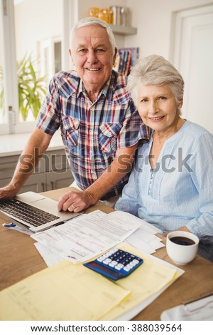 Portrait of senior couple checking their bills at home - stock photo