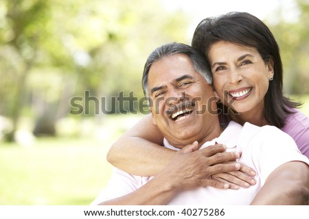 Portrait Of Senior Couple In Park - stock photo