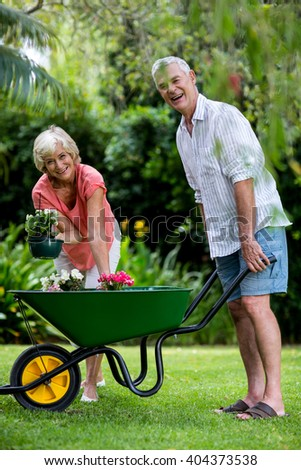 Portrait of senior couple with wheelbarrow and flower pots in yard - stock photo