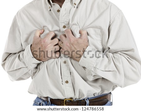 Portrait of senior man clutching his chest because of heart attack - stock photo