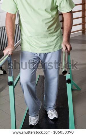 Portrait of Senior man having ambulatory therapy. - stock photo
