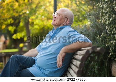 Portrait of senior  man   sitting on   bench during autumn day.