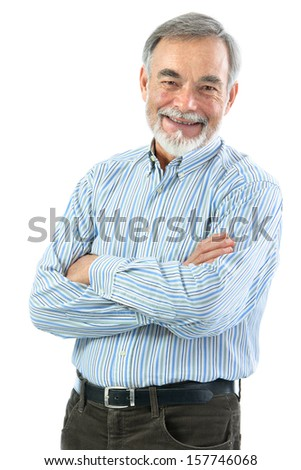 Portrait of  senior man with crossed arms isolated on white - stock photo
