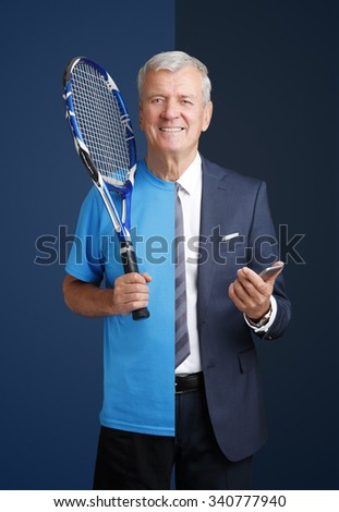 Portrait of senior split person: sportsman and businessman standing against isolated background. - stock photo
