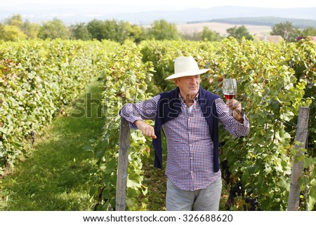 Portrait of senior winemaker holding in his hand a glass of new red wine and tasting it while standing in family winery. Small business.  - stock photo
