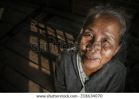 Portrait of senior woman at the home - stock photo