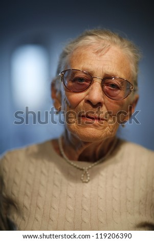 Portrait of senior woman, closeup. - stock photo