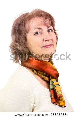 Portrait of senior woman isolated on white - stock photo
