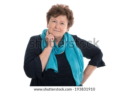 Portrait of senior woman isolated woman isolated over white. - stock photo