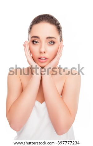 Portrait of sensual beautiful woman touching her face - stock photo