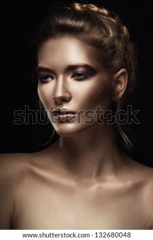 portrait of sensual blond woman - stock photo