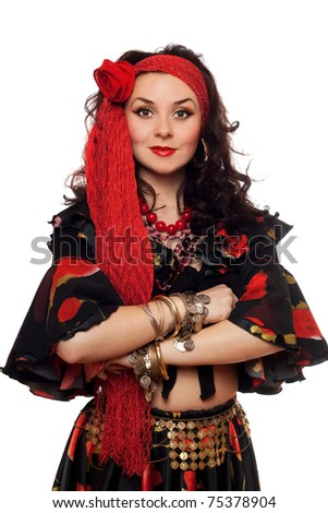 Portrait of sensual gypsy woman. Isolated on white