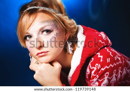 Portrait of sensual woman model with frozen makeup - stock photo