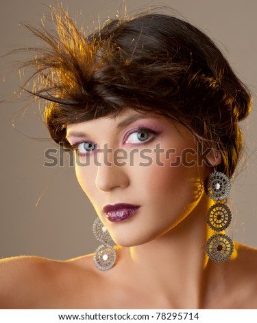 Portrait of sensual woman model with luxury makeup - stock photo