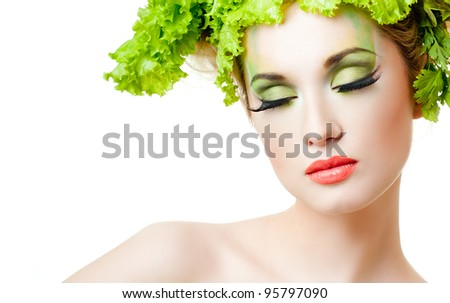 Portrait of sensual woman model with luxury makeup