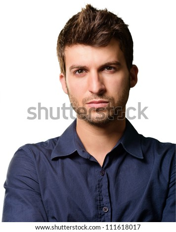 Portrait Of Serious Man Isolated On White Background