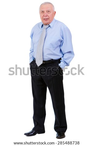 Portrait of Serious old mature businessman with tie. put hands in trouser pockets, isolated on white background. human emotion, facial expression - stock photo