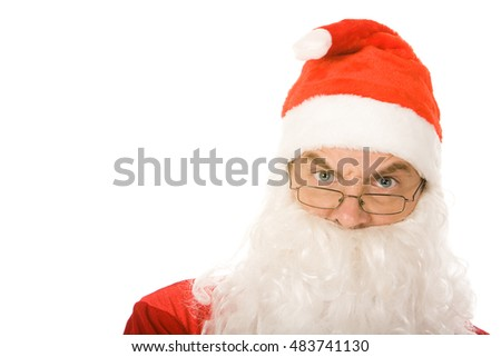Portrait of serious santa claus isolated on white background