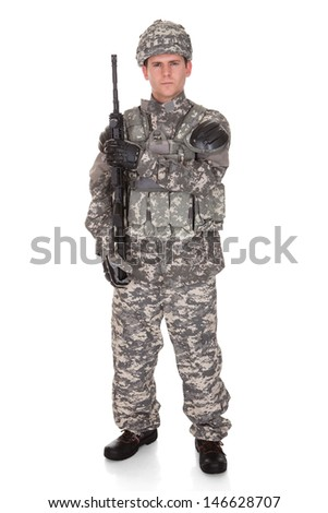 Portrait Of Serious Solider Holding Rifle Isolated Over White Background