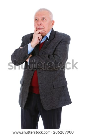 Portrait of serious thinking senior old businessman, dressed in suit, shirt and marsala jacket, isolated on white background. Human emotions and facial expressions.