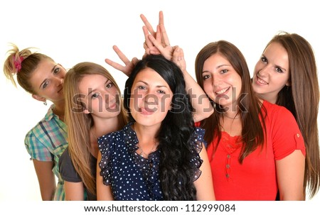 portrait of several happy young women. isolated on white background
