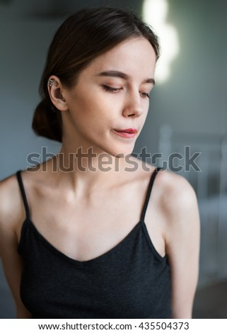 Portrait of sexual young woman close up the house